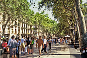 While renting in Barcelona, it's fun to stroll La Ramblas.